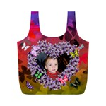 Butterflies and flower heart Recycle Bag (M) two sides - Full Print Recycle Bag (M)