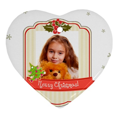 Merry Christmas By Joely   Ornament (heart)   Z63xga66jwe0   Www Artscow Com Front