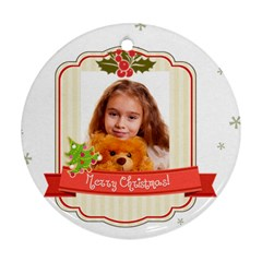 Merry Christmas By Joely   Round Ornament (two Sides)   8narsro0w898   Www Artscow Com Front