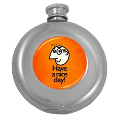 Have A Nice Day Happy Character Hip Flask (round)