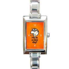 Have A Nice Day Happy Character Rectangular Italian Charm Watch by CreaturesStore