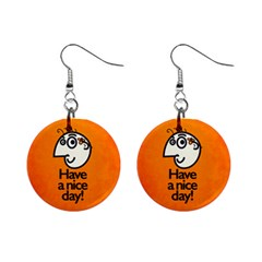 Have A Nice Day Happy Character Mini Button Earrings