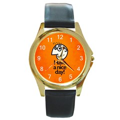 Have A Nice Day Happy Character Round Leather Watch (gold Rim)