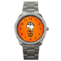 Have A Nice Day Happy Character Sport Metal Watch by CreaturesStore