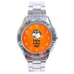 Have A Nice Day Happy Character Stainless Steel Watch