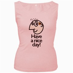 Have A Nice Day Happy Character Women s Tank Top (pink)
