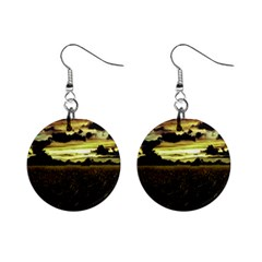 Dark Meadow Landscape  Mini Button Earrings by dflcprints