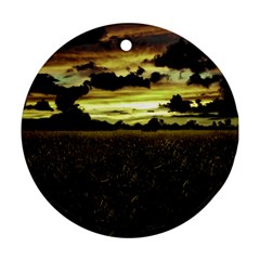 Dark Meadow Landscape  Round Ornament (two Sides) by dflcprints