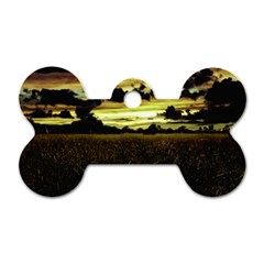 Dark Meadow Landscape  Dog Tag Bone (two Sided) by dflcprints