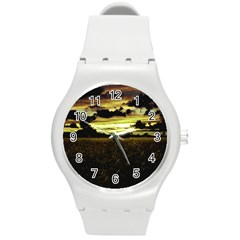 Dark Meadow Landscape  Plastic Sport Watch (medium) by dflcprints