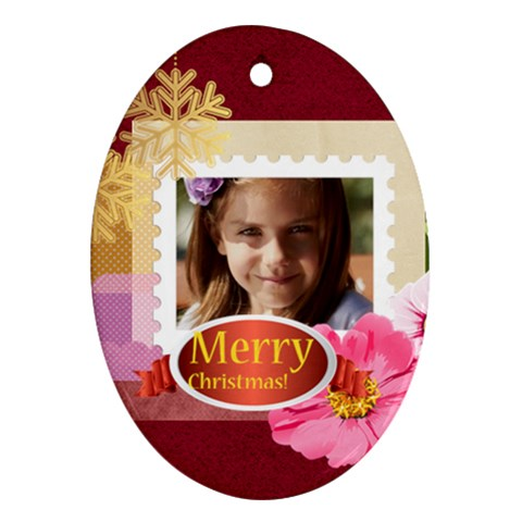 Merry Christmas By Joely   Ornament (oval)   Nsezkijt21u6   Www Artscow Com Front