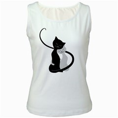 White And Black Cats In Love Women s Tank Top (white)