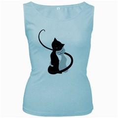 White And Black Cats In Love Women s Tank Top (baby Blue)