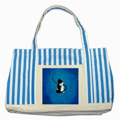 Blue White And Black Cats In Love Blue Striped Tote Bag