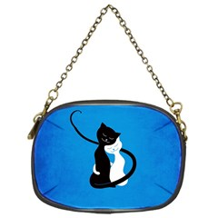 Blue White And Black Cats In Love Chain Purse (one Side)