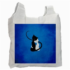 Blue White And Black Cats In Love White Reusable Bag (two Sides)
