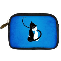 Blue White And Black Cats In Love Digital Camera Leather Case