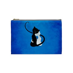 Blue White And Black Cats In Love Cosmetic Bag (medium)