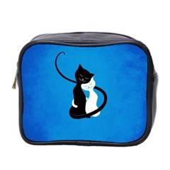 Blue White And Black Cats In Love Mini Travel Toiletry Bag (two Sides)