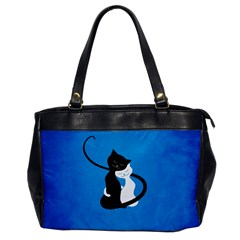 Blue White And Black Cats In Love Oversize Office Handbag (one Side)