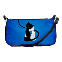 Blue White And Black Cats In Love Evening Bag by CreaturesStore