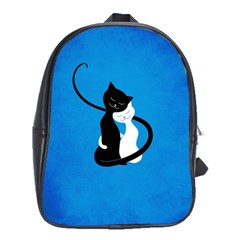 Blue White And Black Cats In Love School Bag (xl)