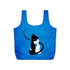 Blue White And Black Cats In Love Reusable Bag (s)
