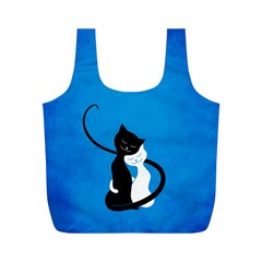 Blue White And Black Cats In Love Reusable Bag (m)