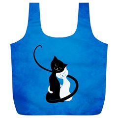 Blue White And Black Cats In Love Reusable Bag (xl)