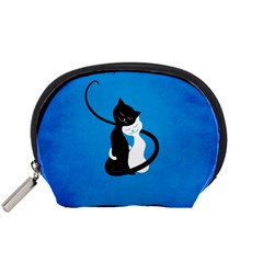 Blue White And Black Cats In Love Accessories Pouch (small) by CreaturesStore