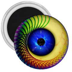 Eerie Psychedelic Eye 3  Button Magnet by StuffOrSomething