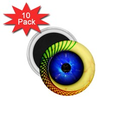 Eerie Psychedelic Eye 1 75  Button Magnet (10 Pack) by StuffOrSomething