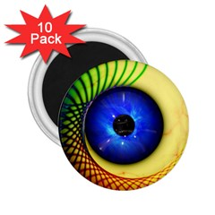 Eerie Psychedelic Eye 2 25  Button Magnet (10 Pack) by StuffOrSomething