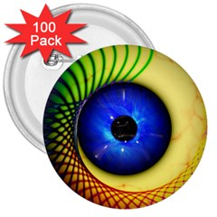 Eerie Psychedelic Eye 3  Button (100 Pack) by StuffOrSomething