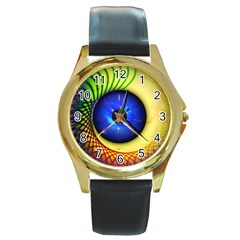 Eerie Psychedelic Eye Round Leather Watch (gold Rim)  by StuffOrSomething