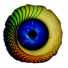 Eerie Psychedelic Eye 18  Premium Round Cushion  by StuffOrSomething