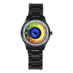 Eerie Psychedelic Eye Sport Metal Watch (black) by StuffOrSomething