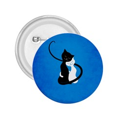 Blue White And Black Cats In Love 2 25  Button