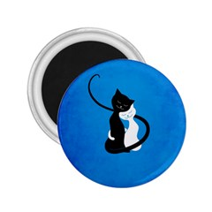 Blue White And Black Cats In Love 2 25  Button Magnet