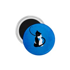 Blue White And Black Cats In Love 1 75  Button Magnet