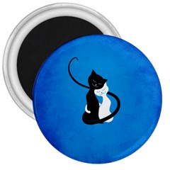 Blue White And Black Cats In Love 3  Button Magnet