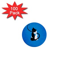 Blue White And Black Cats In Love 1  Mini Button (100 Pack)