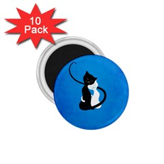 Blue White And Black Cats In Love 1 75  Button Magnet (10 Pack) by CreaturesStore
