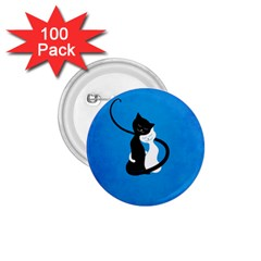 Blue White And Black Cats In Love 1 75  Button (100 Pack)
