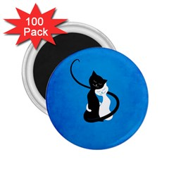 Blue White And Black Cats In Love 2 25  Button Magnet (100 Pack)