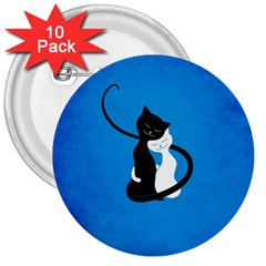 Blue White And Black Cats In Love 3  Button (10 Pack)