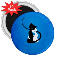 Blue White And Black Cats In Love 3  Button Magnet (10 Pack)