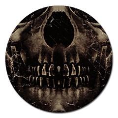 Skull Poster Background Magnet 5  (round)