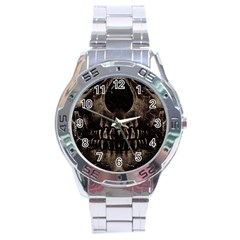 Skull Poster Background Stainless Steel Watch by dflcprints