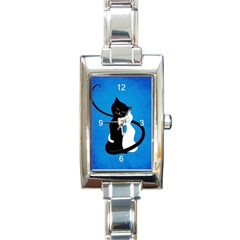 Blue White And Black Cats In Love Rectangular Italian Charm Watch